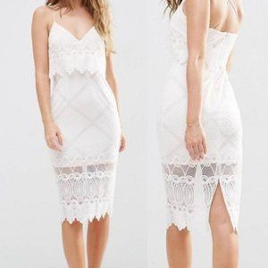 ASOS Women's White Lace Strappy Cocktail Dress 0